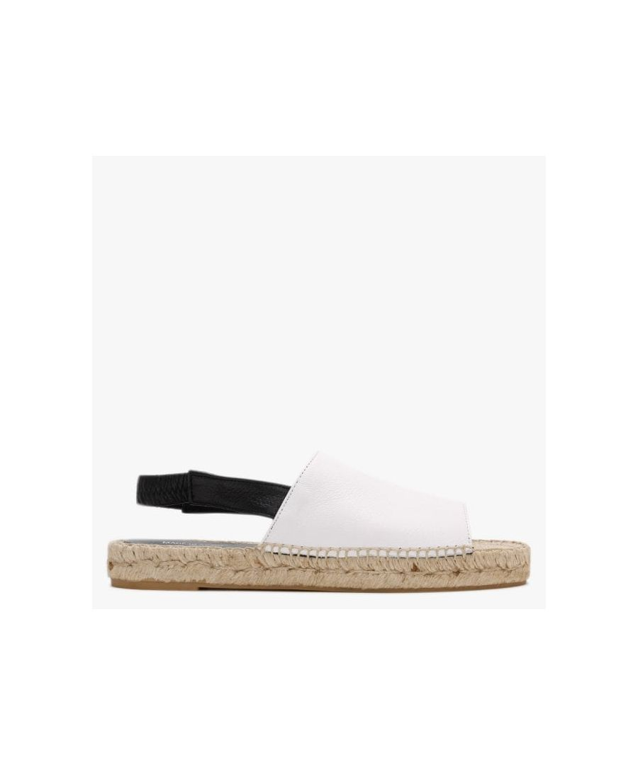 Image for Carmen Saiz Leather Sling Back Flat Espadrille Sandals