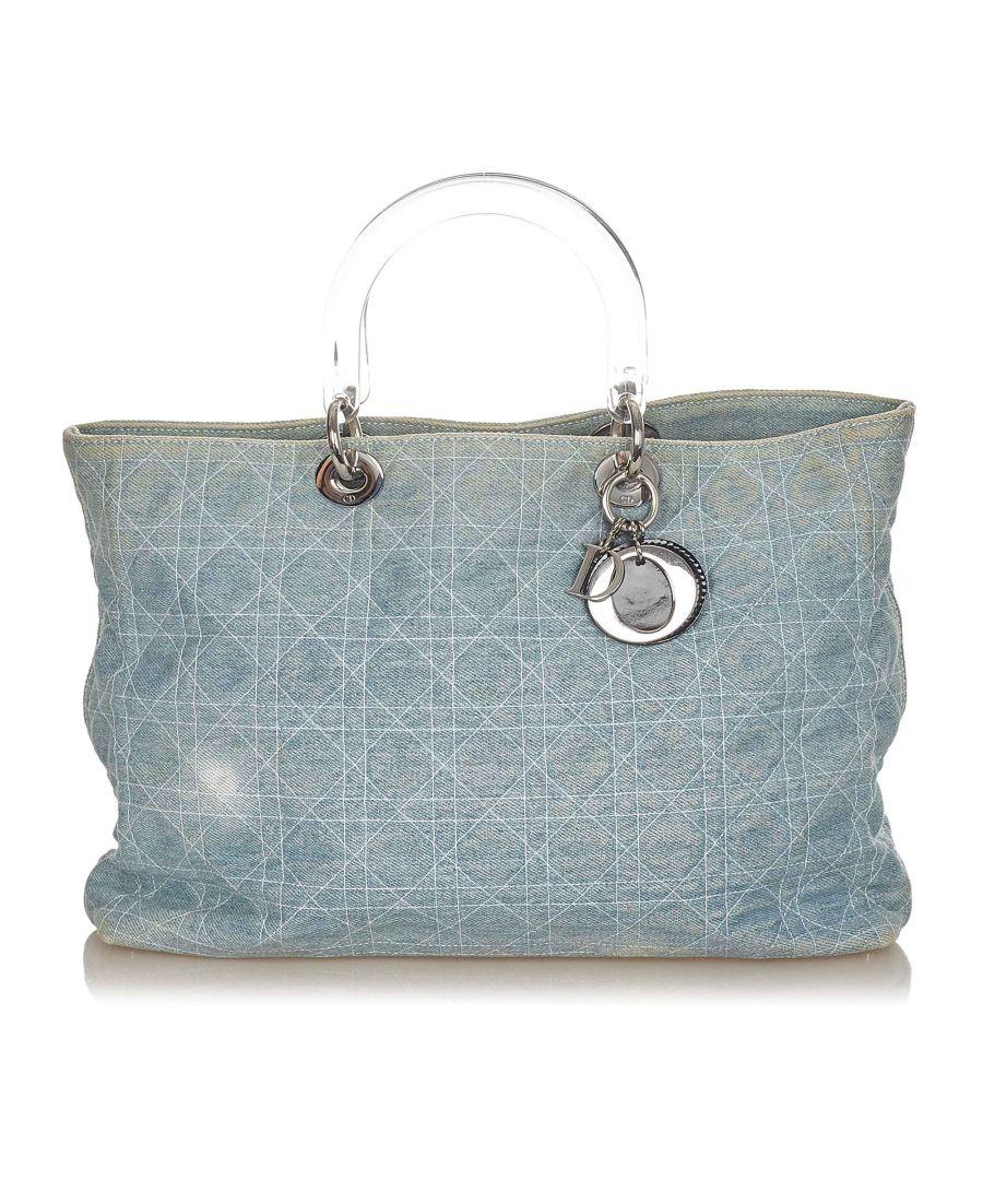 Image for Vintage Dior Cannage Lady Dior Denim Tote Bag Blue