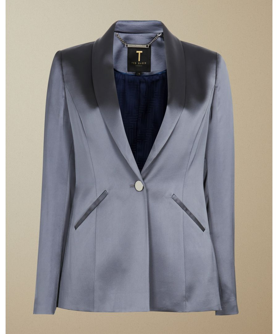 Image for Ted Baker Ilianna Satin Tailored Jacket, Gunmetal
