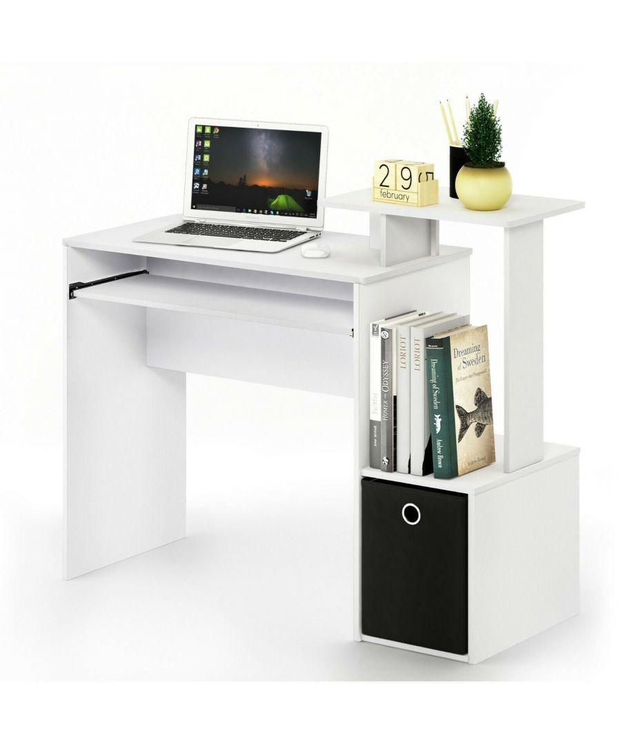 Image for Furinno Econ Multipurpose Home Office Computer Writing Desk w/Bin, White/Black