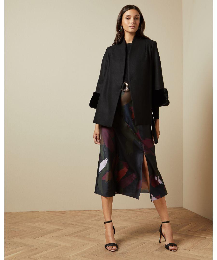 Image for Ted Baker Margalo Faux Fur Cuff Short Wool Coat, Black