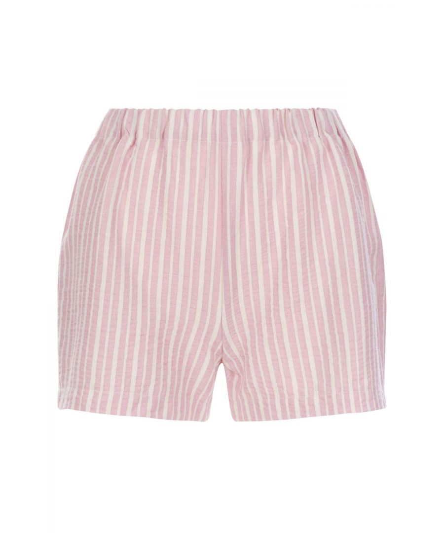 Image for Curious Cotton Stripe Shorts in Pink