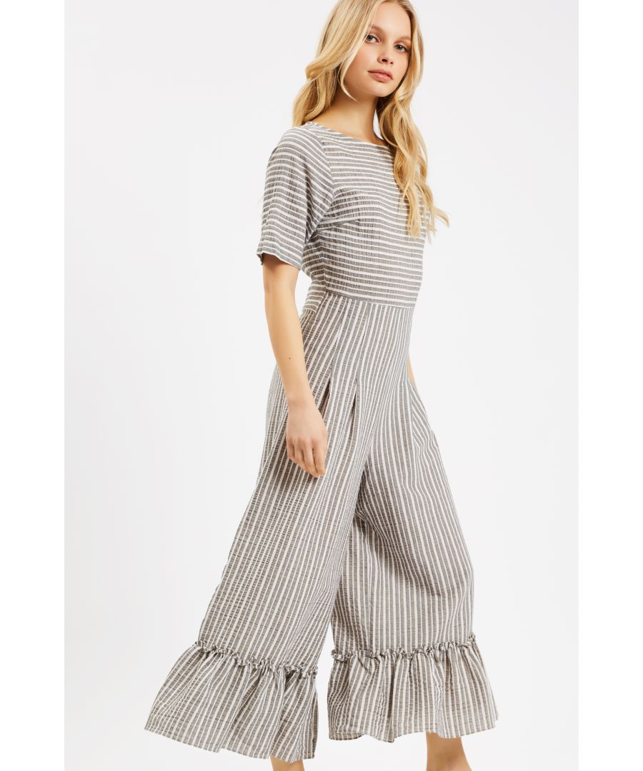Image for Curious Cotton Stripe Bianca Jumpsuit in Grey
