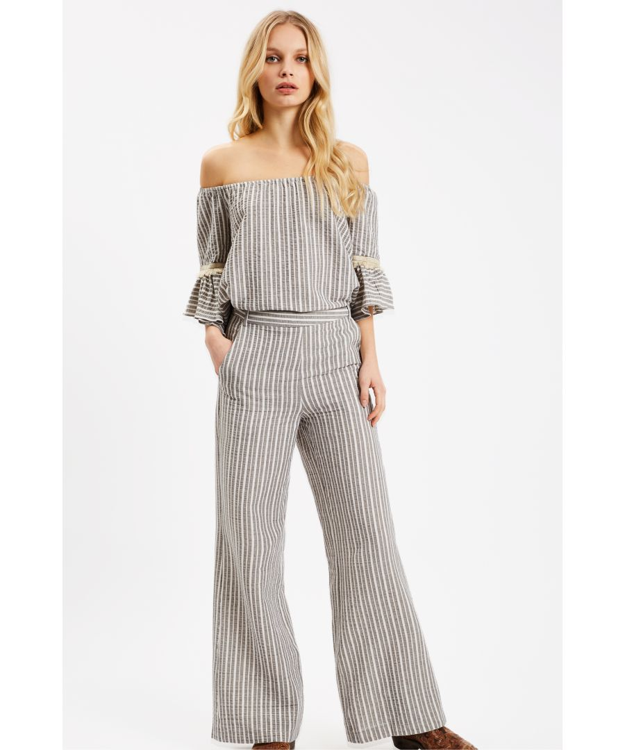Image for Curious Cotton Wide Leg Grey Trousers