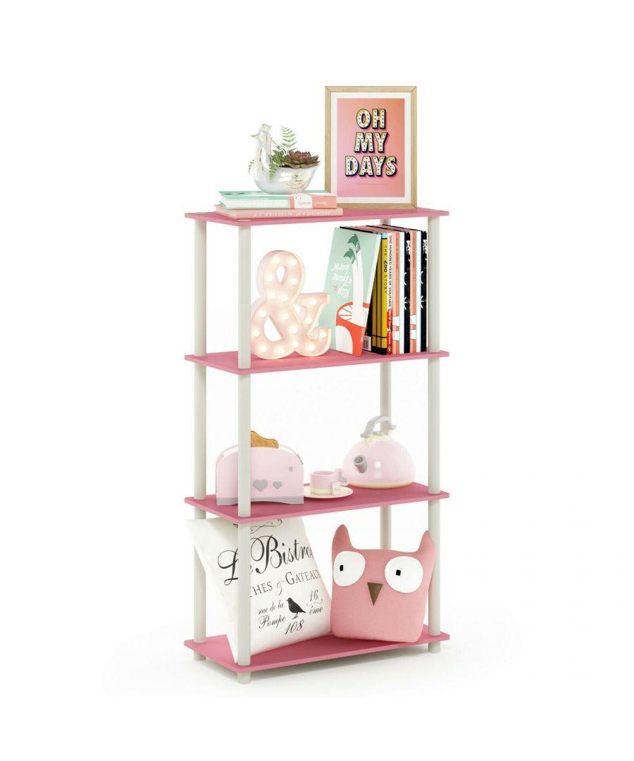 Image for Furinno Turn-N-Tube 4-Tier Multipurpose Shelf Display Rack, Pink/White