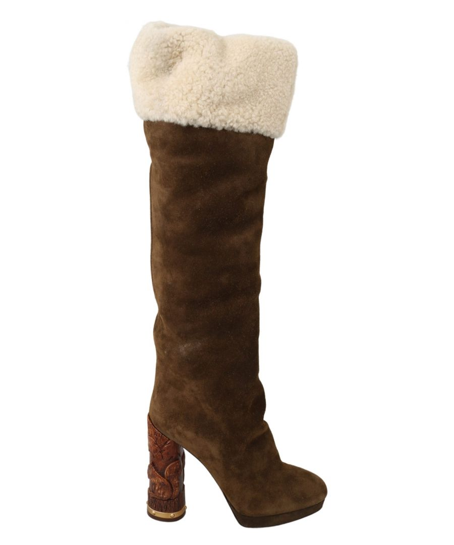 Image for Dolce & Gabbana Brown Suede Shearling Knee High Boots Shoes