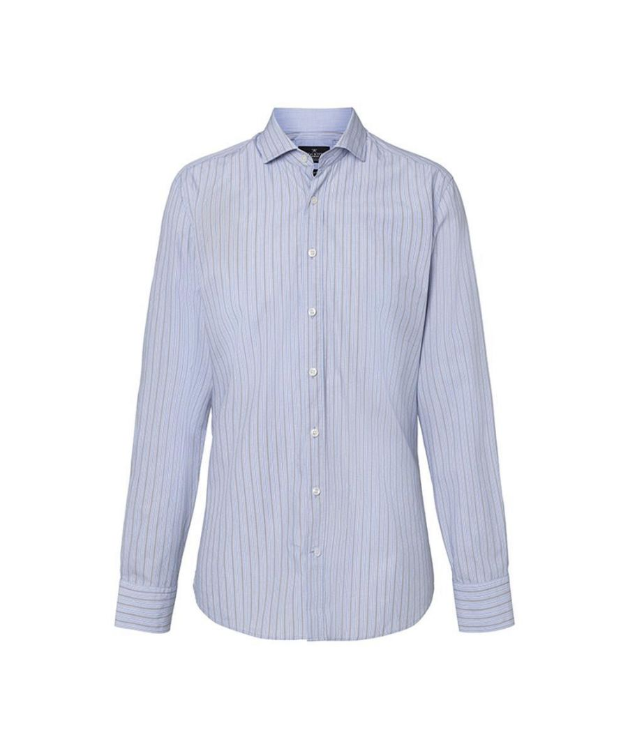 Image for Men's Hackett Marina Stripe Long Sleeve Shirt in Blue Multicolour