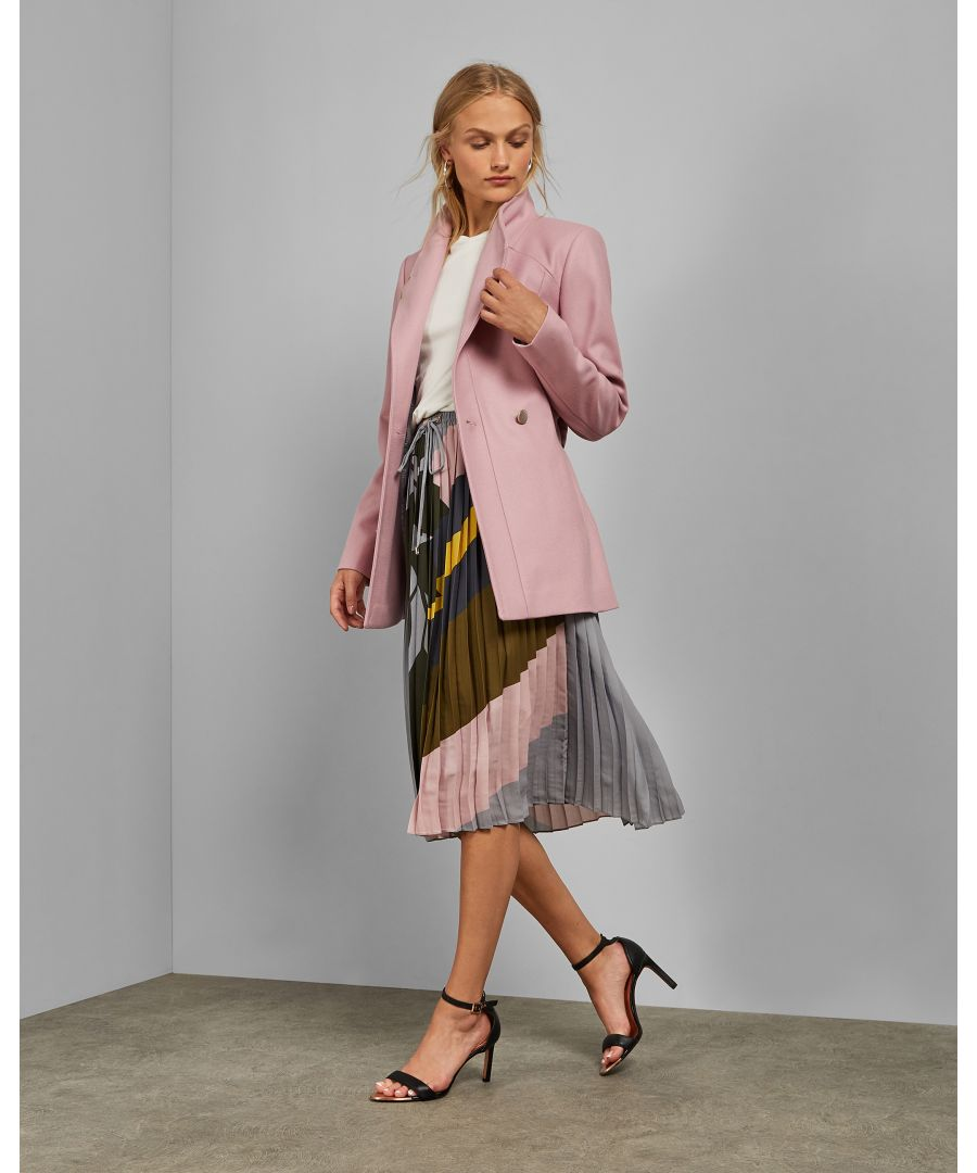 Image for Ted Baker Drytaa Short Belted Wool Wrap Coat, Pink