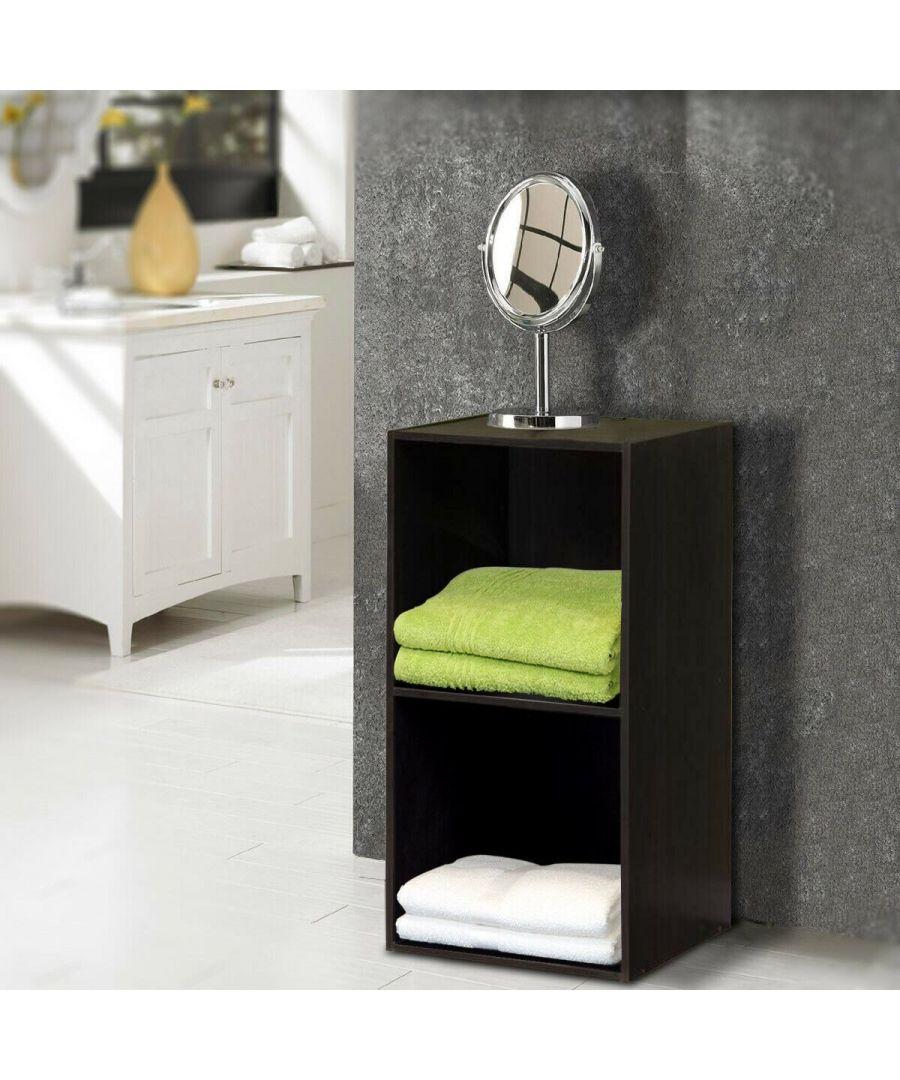 Image for Furinno Hidup Tropika Eco Modular Open Cube Tall Storage with Shelf - Espresso