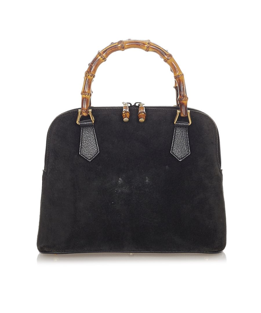 Image for Vintage Gucci Bamboo Suede Handbag Black