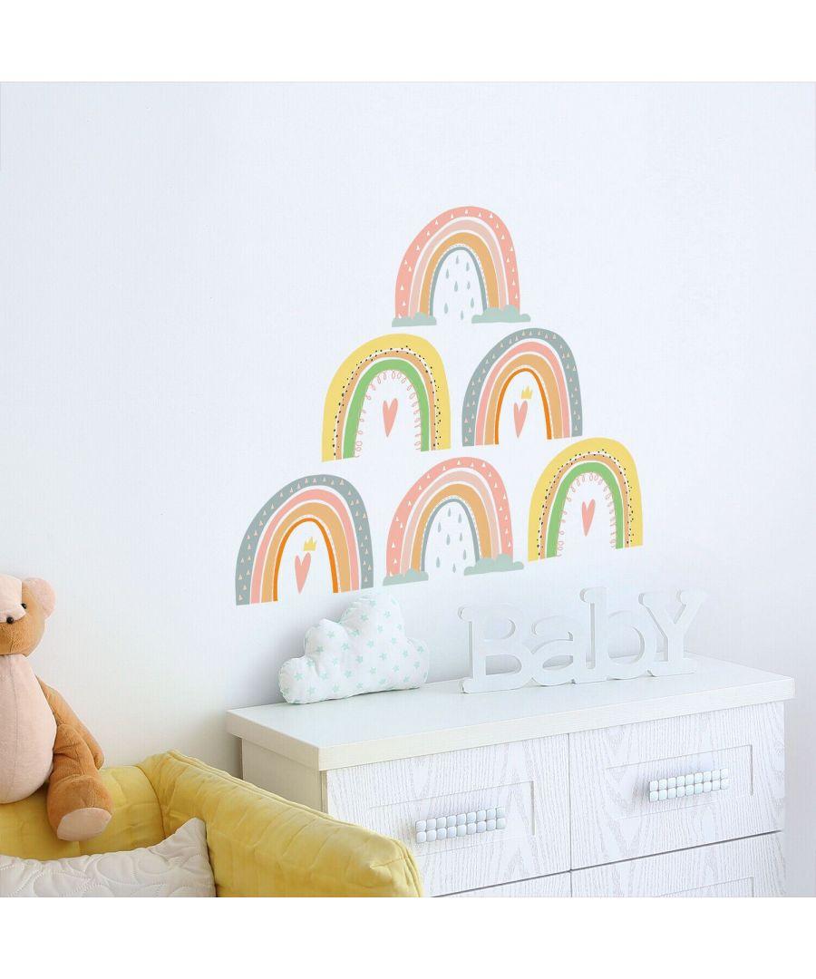Image for Charming Hand-drawn Rainbows Self Adhesive DIY Wall Stickers Kids Room, nursery, children's room, boy, girl