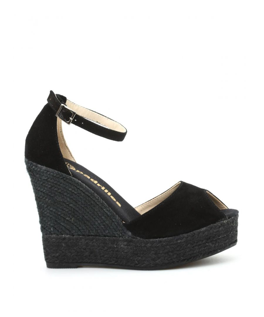 Image for ESPADRILLES WOMEN'S SASHAANTENEGRO BLACK SUEDE WEDGES