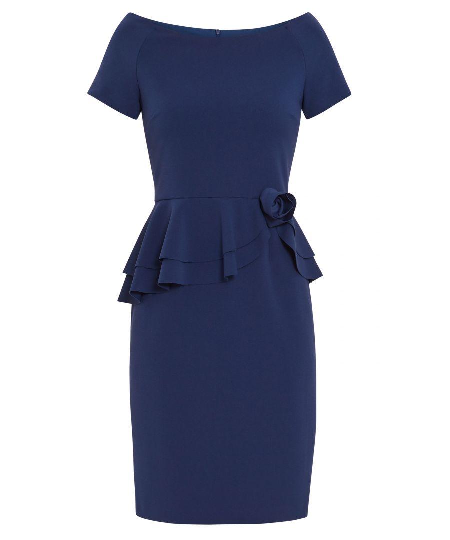 Image for Gina Bacconi Darla Crepe Peplum Dress in Blue_Navy