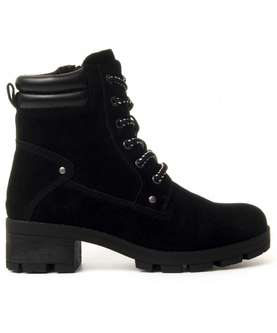 Image for Purapiel Lace-Up Heeled Boot in Black