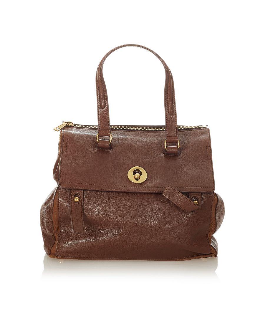 Image for Vintage YSL Muse Two Leather Handbag Brown