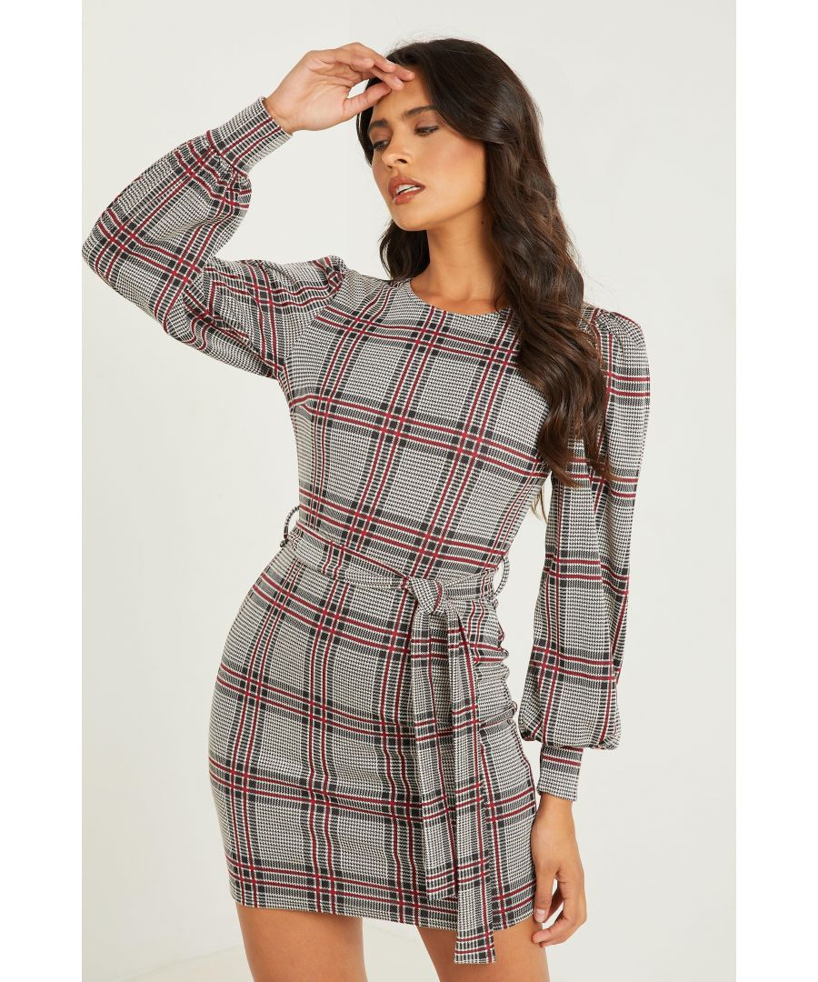 Image for Berry Check Puff Sleeve Dress