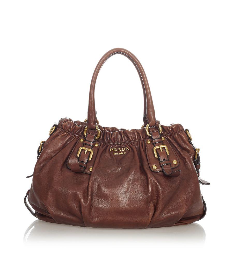 Image for Vintage Prada Leather Satchel Brown