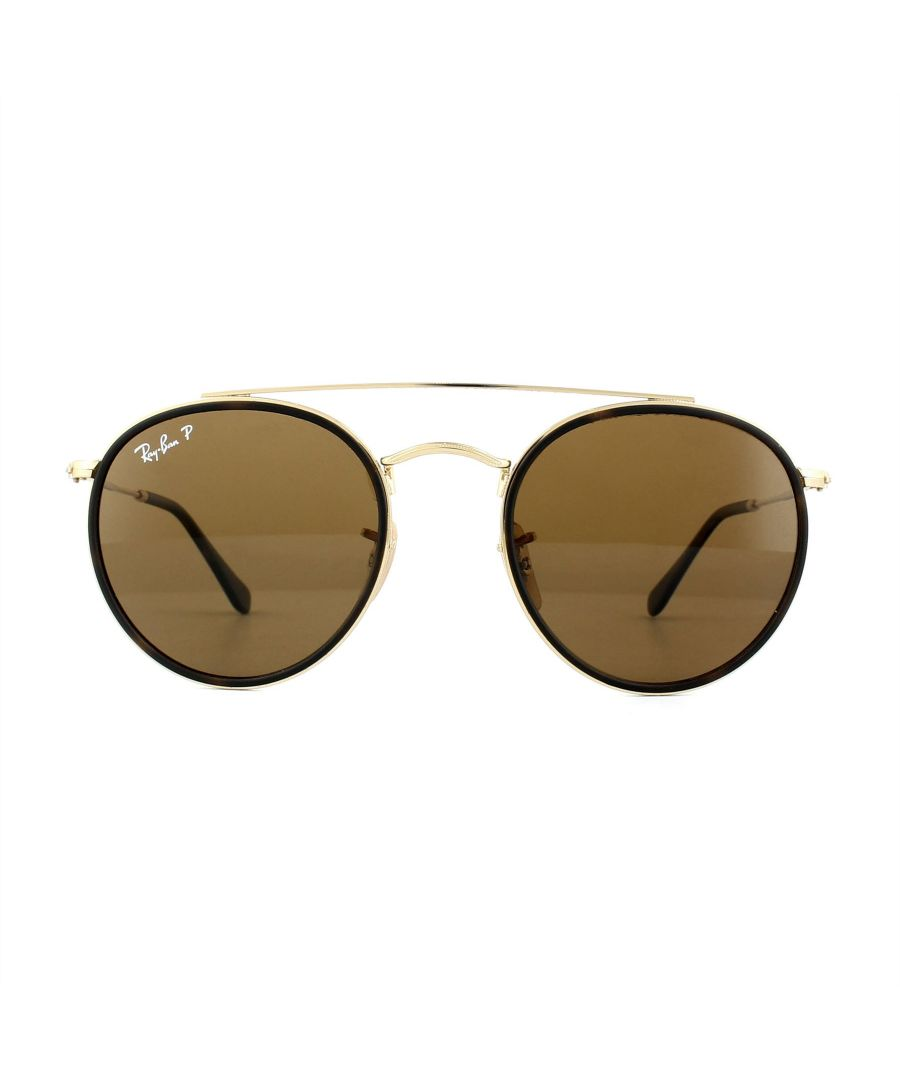 Image for Ray-Ban Sunglasses Round Double Bridge 3647N 001/57 Gold Brown B-15 Polarized