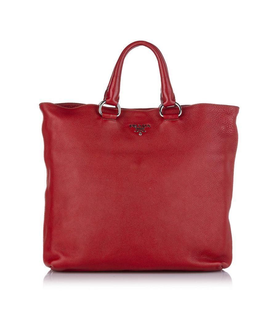 Image for Vintage Prada Vitello Daino Tote Bag Red