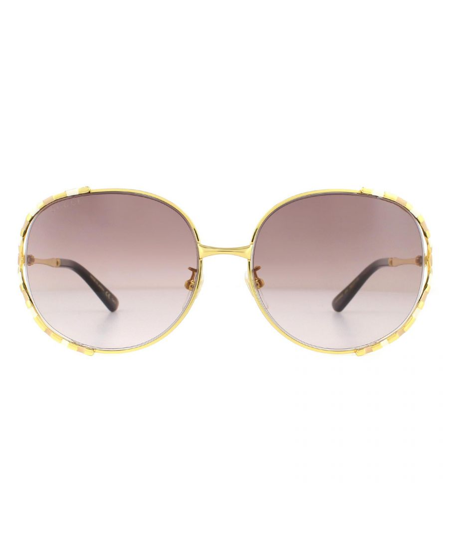Image for Gucci Sunglasses GG0595S 004 Gold and Ivory Brown Gradient