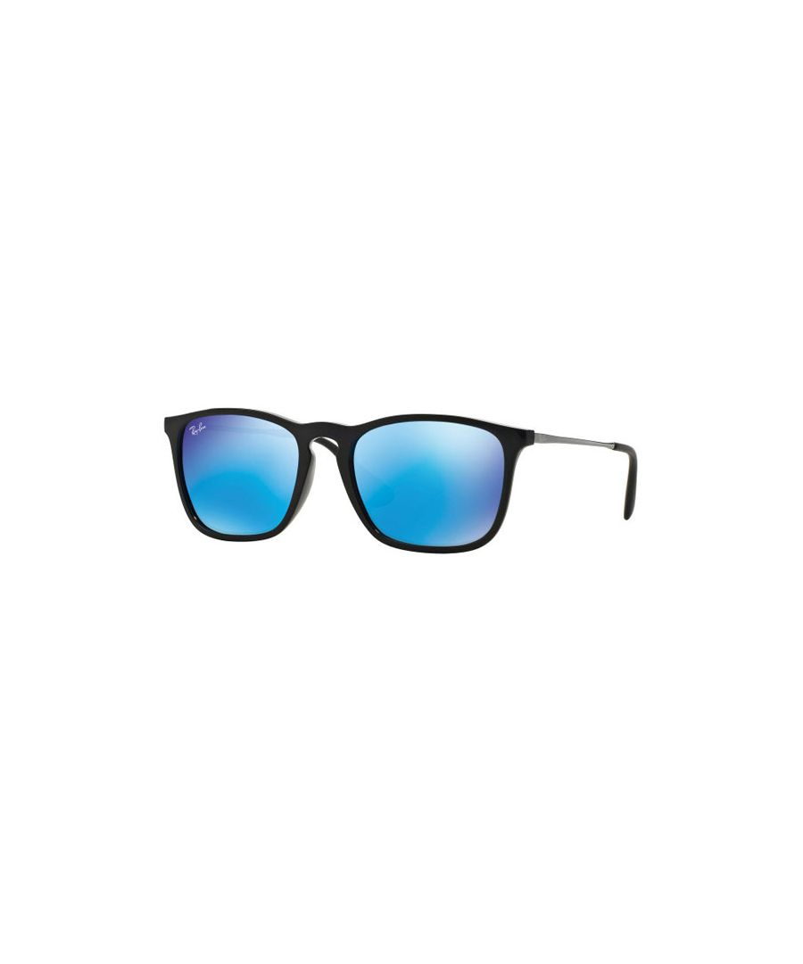 Image for Ray-Ban Rectangular Plastic Unisex Sunglasses Black / Blue Mirror