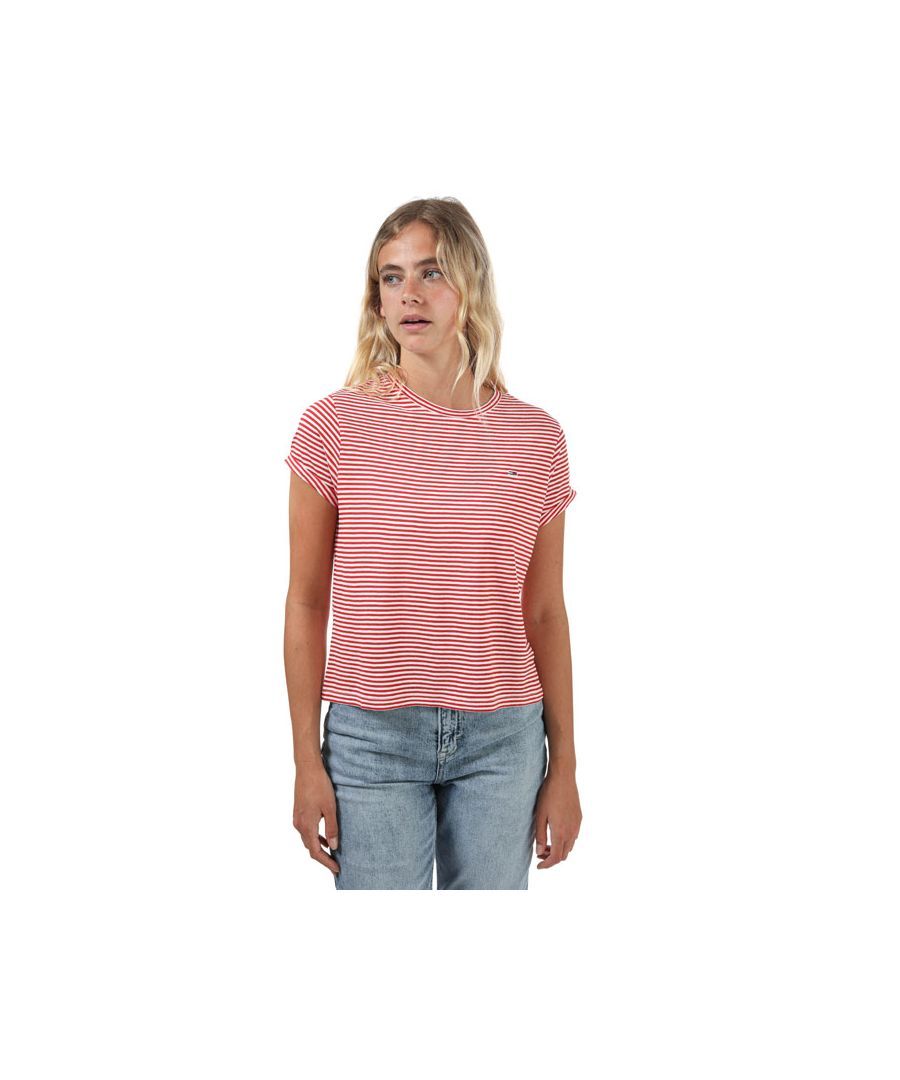 Image for Women's Tommy Hilfiger Stripe Relaxed Fit T-Shirt in Red