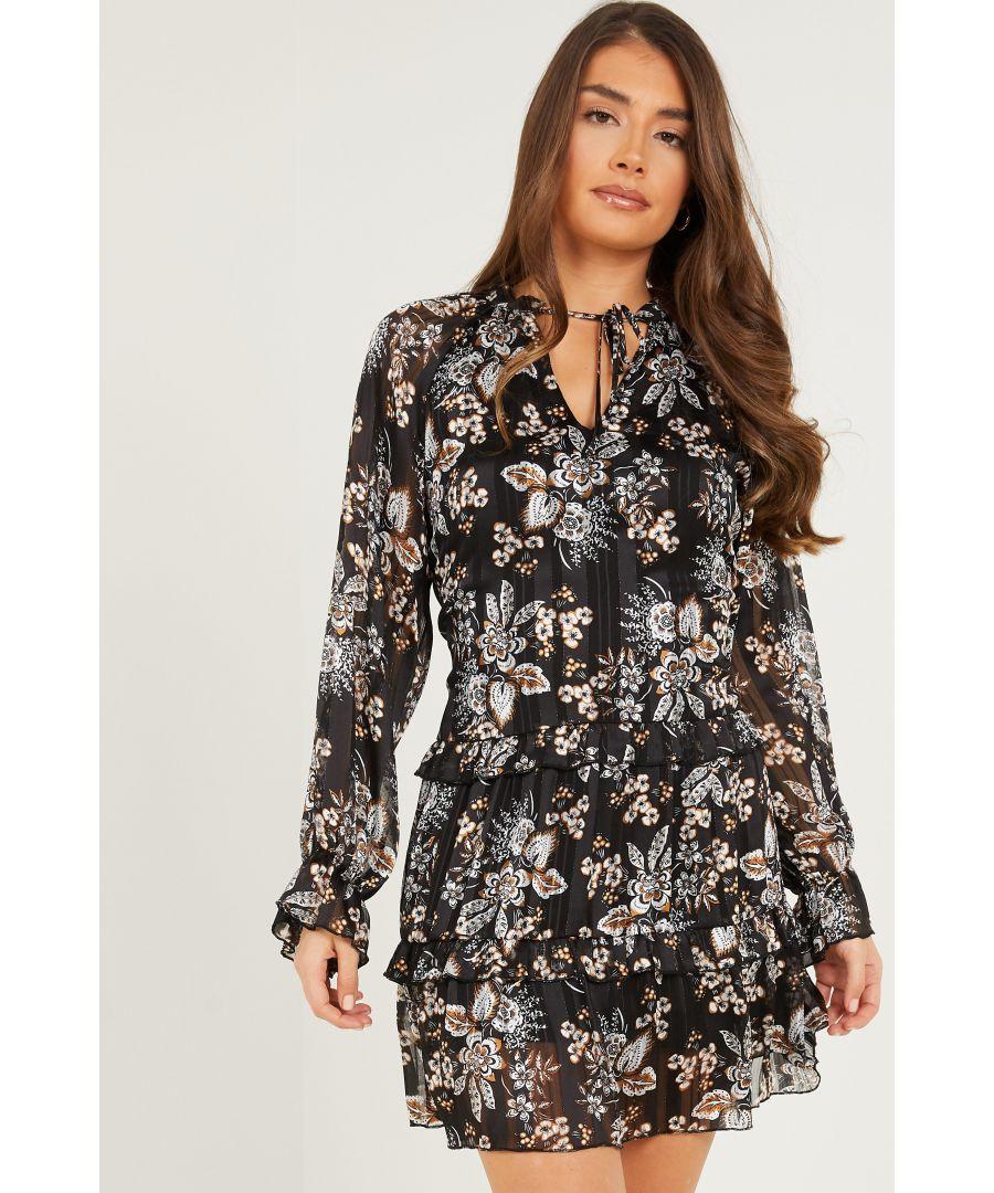 Image for Black Chiffon Paisley Print Dress