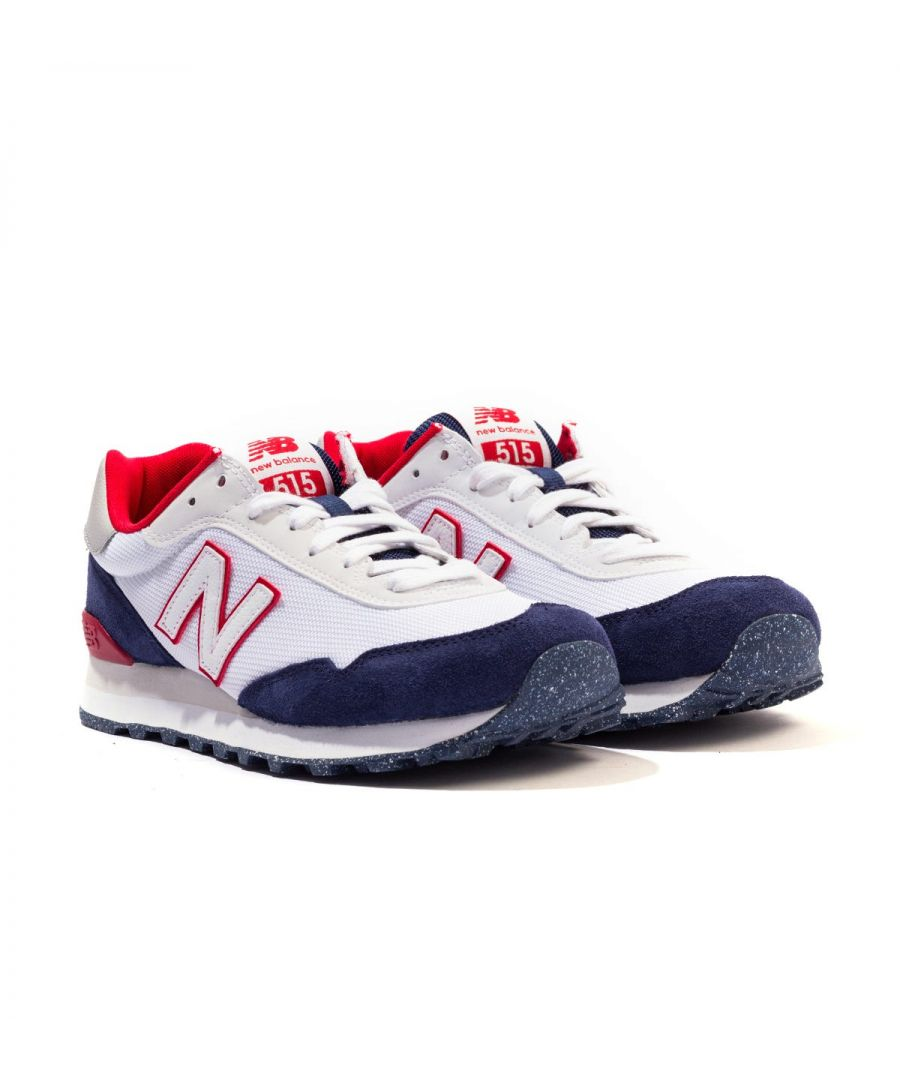 Image for New Balance 515 Suede Trainers - White & Navy