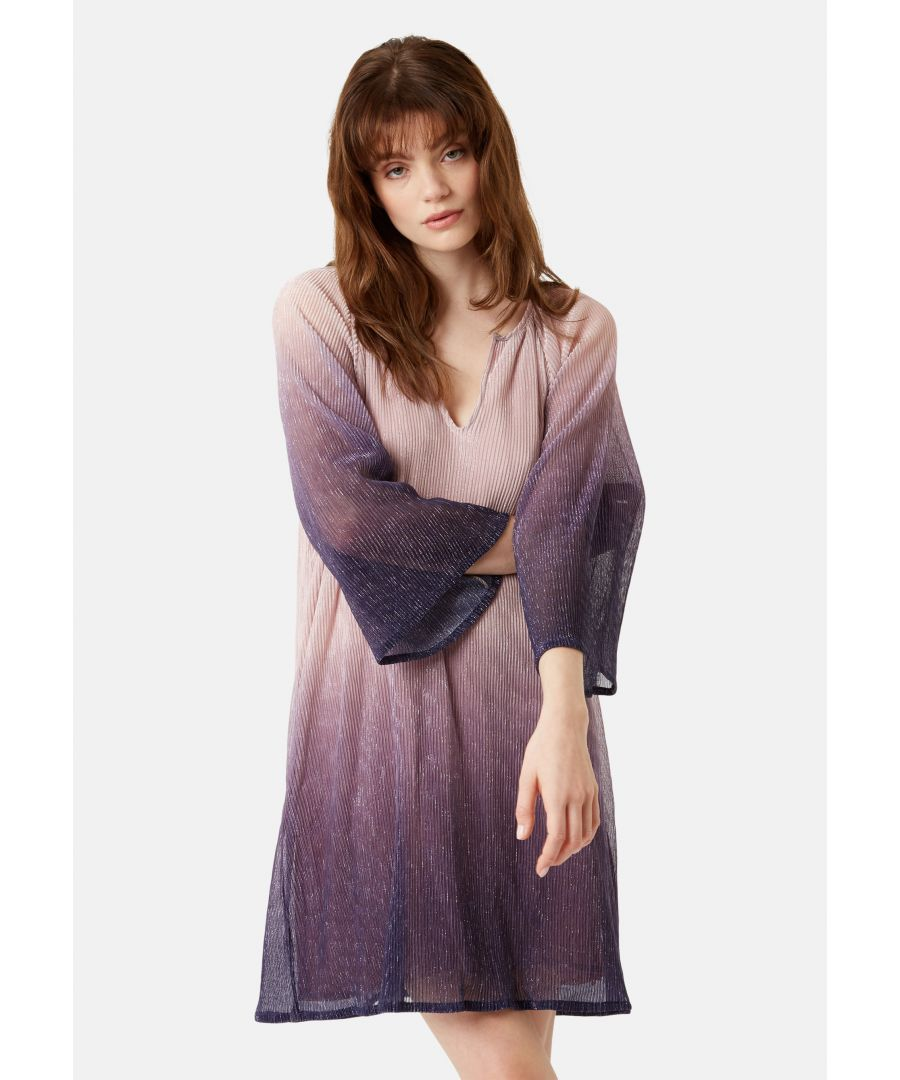 Image for Moments Chffon Ombre Mini Dress in Purple and Pink
