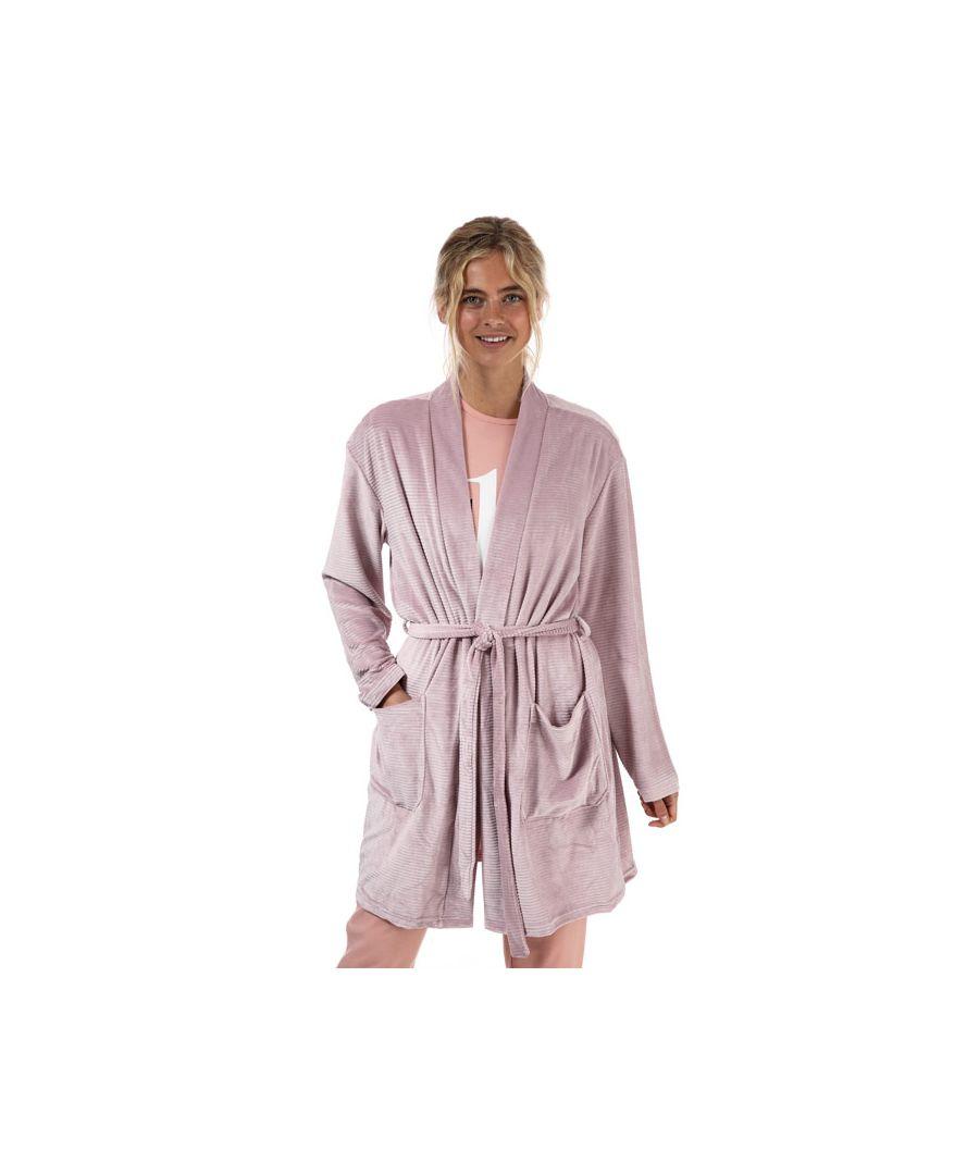 Image for Women's Calvin Klein Textured Robe Dusky Pink M/Lin Dusky Pink