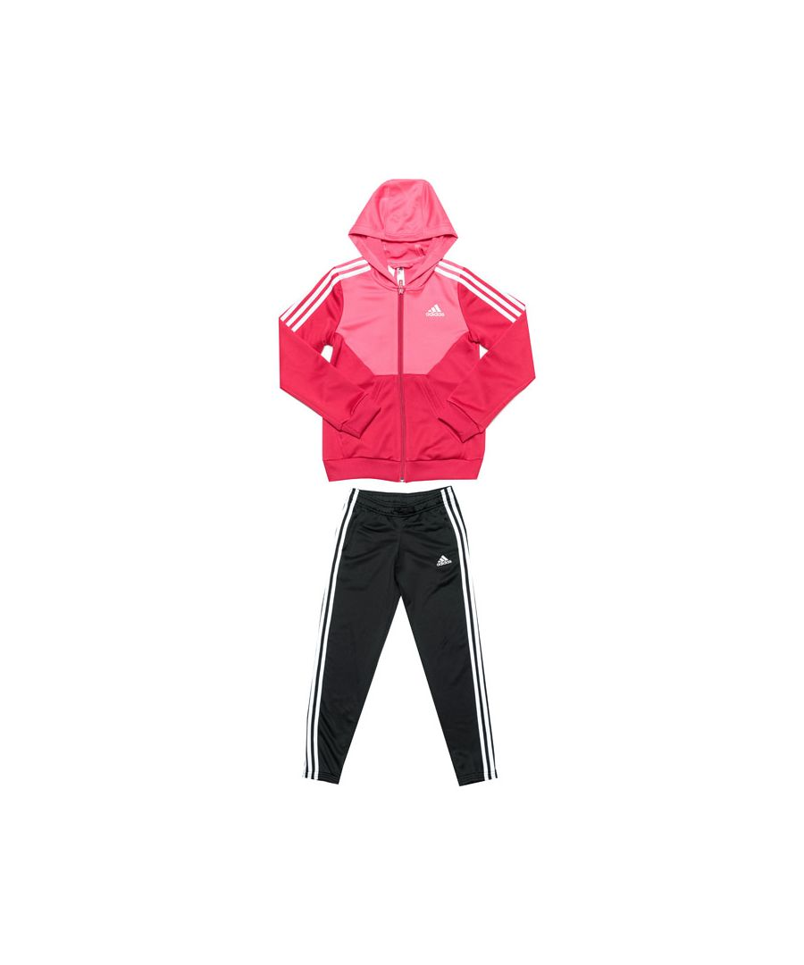 Image for Girl's adidas Junior Hooded Tracksuit in Pink