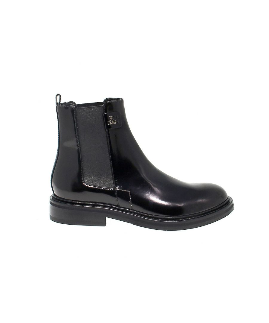 Image for FABI WOMEN'S FD6330BLACK BLACK LEATHER ANKLE BOOTS
