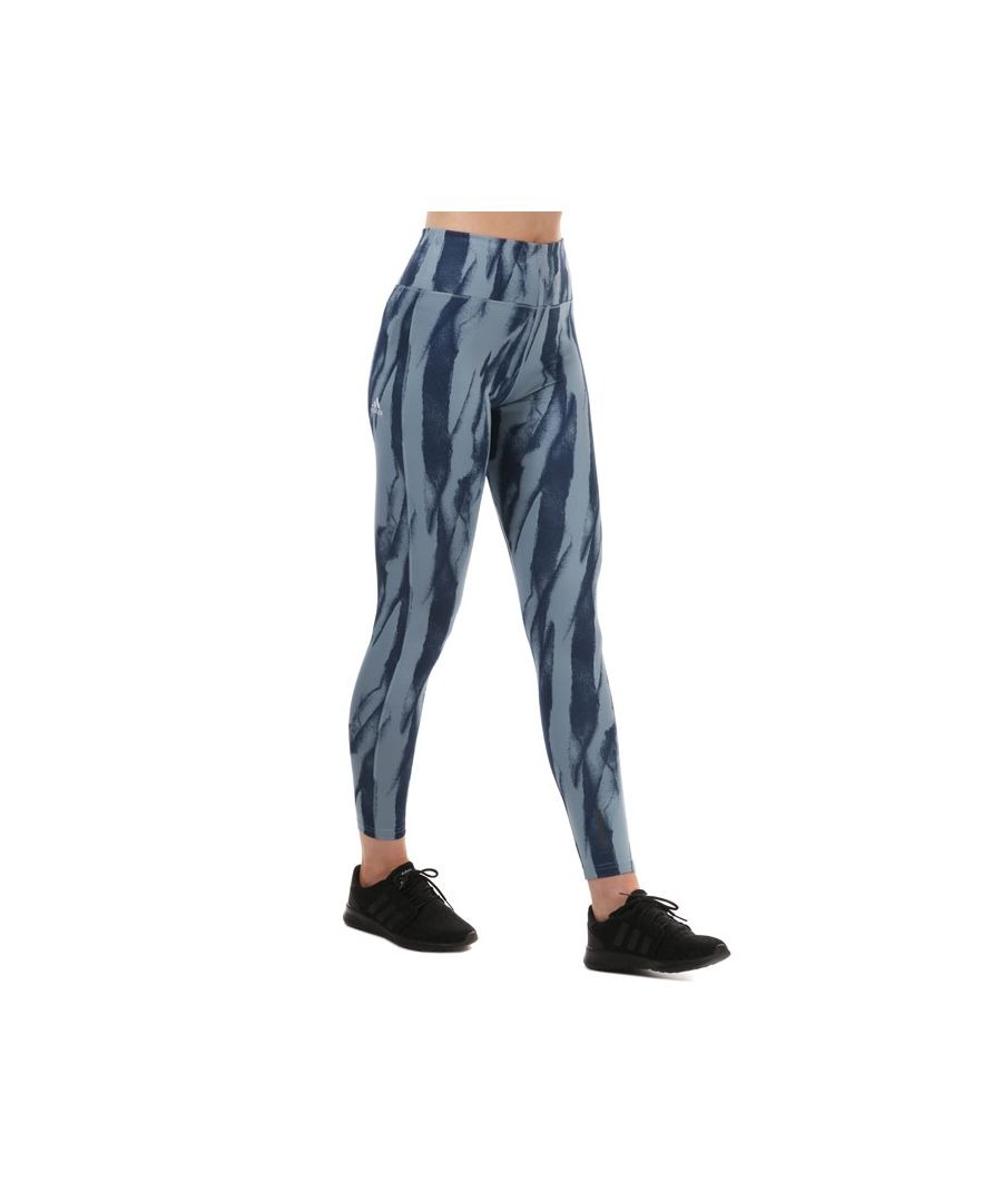 Image for Women's adidas D2M Running Print Leggings Grey blue 4-6in Grey blue