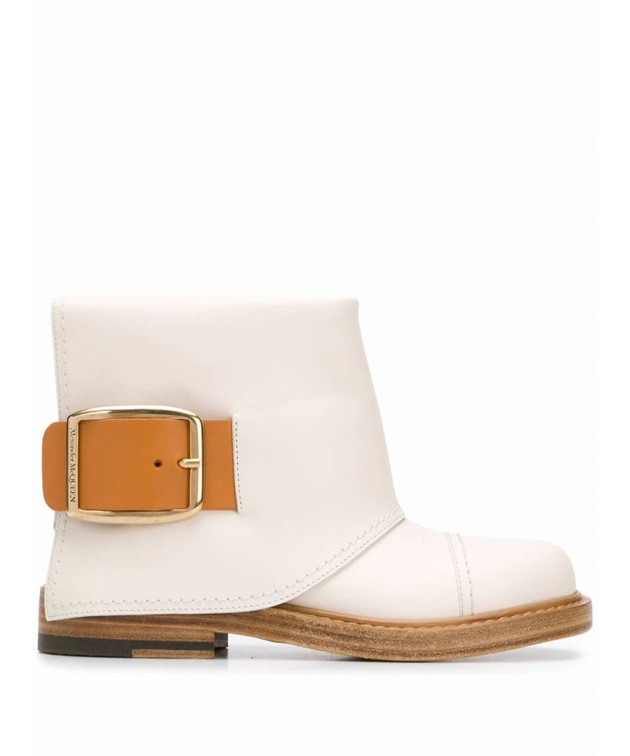 Image for ALEXANDER MCQUEEN WOMEN'S 621834WHXZ92155 WHITE LEATHER ANKLE BOOTS
