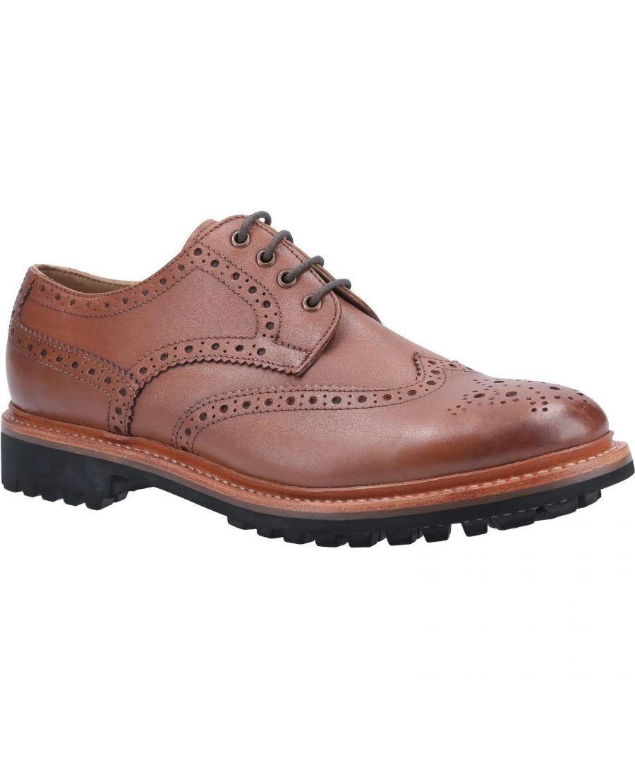 Image for Cotswold Mens Quenington Commando Lace Up Dress Leather Shoe (Brown)