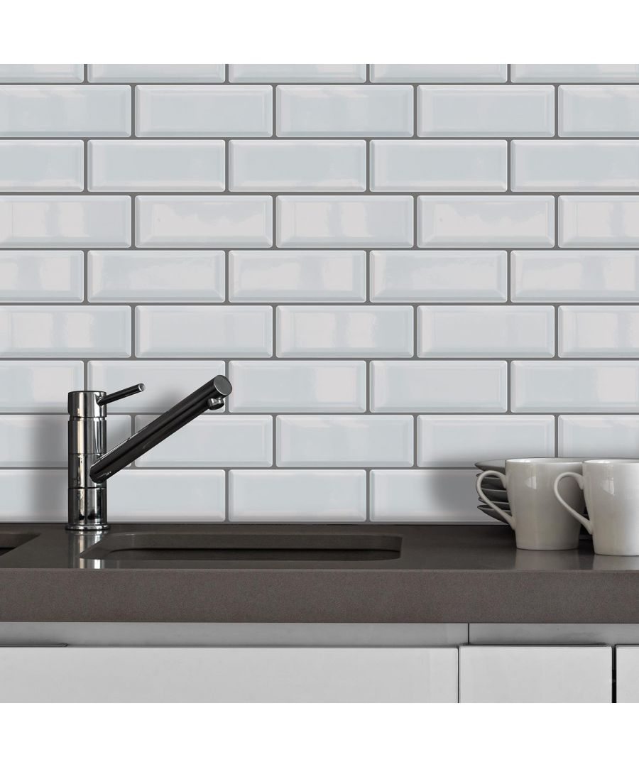 Image for White Metro Glossy 3D Sticker Tile 30 x 15 cm - 12 pcs 3D Tiles Wall Stickers, Kitchen, Bathroom, Living room, peel and stick