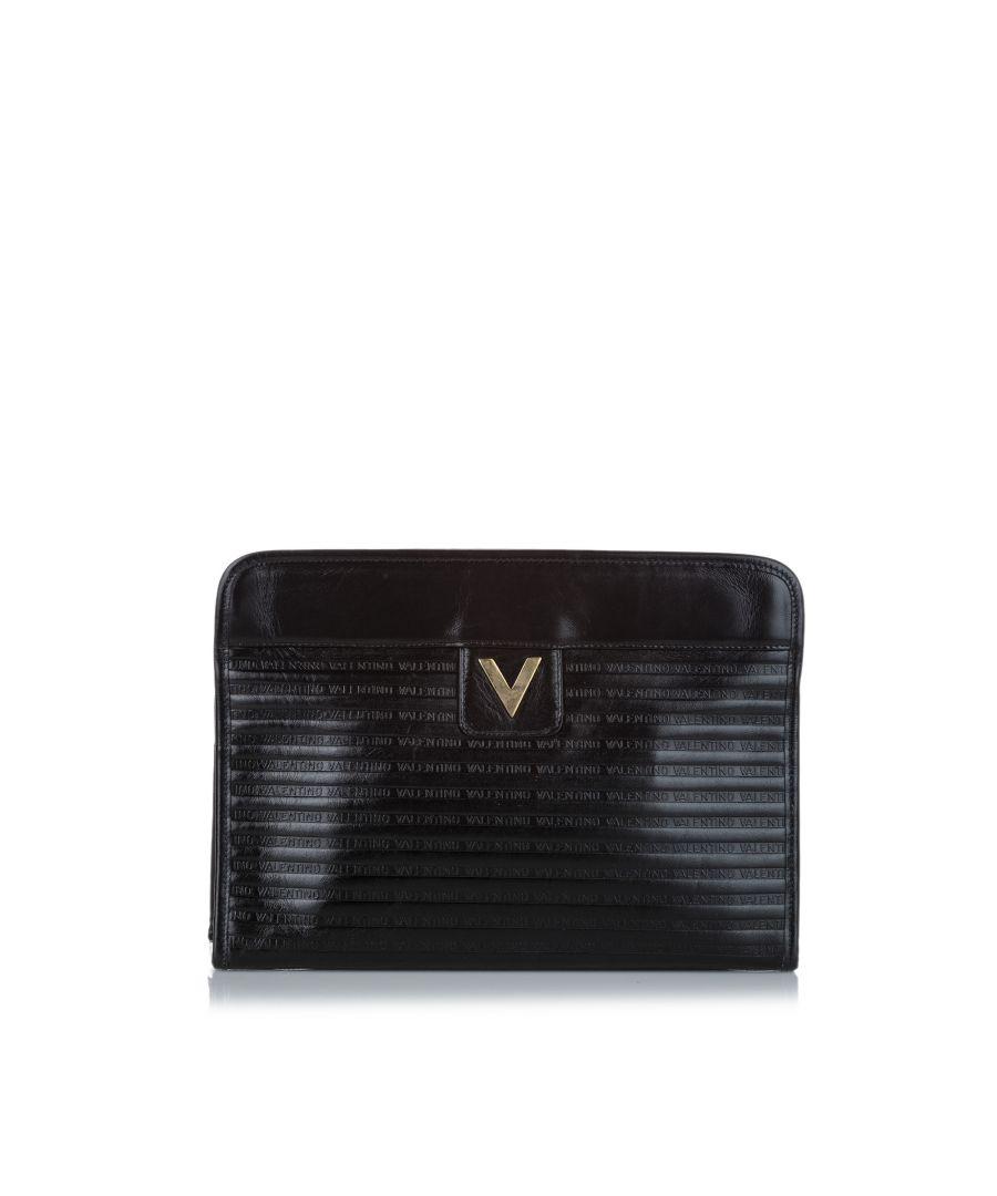 Image for Vintage Valentino Leather Clutch Bag Black