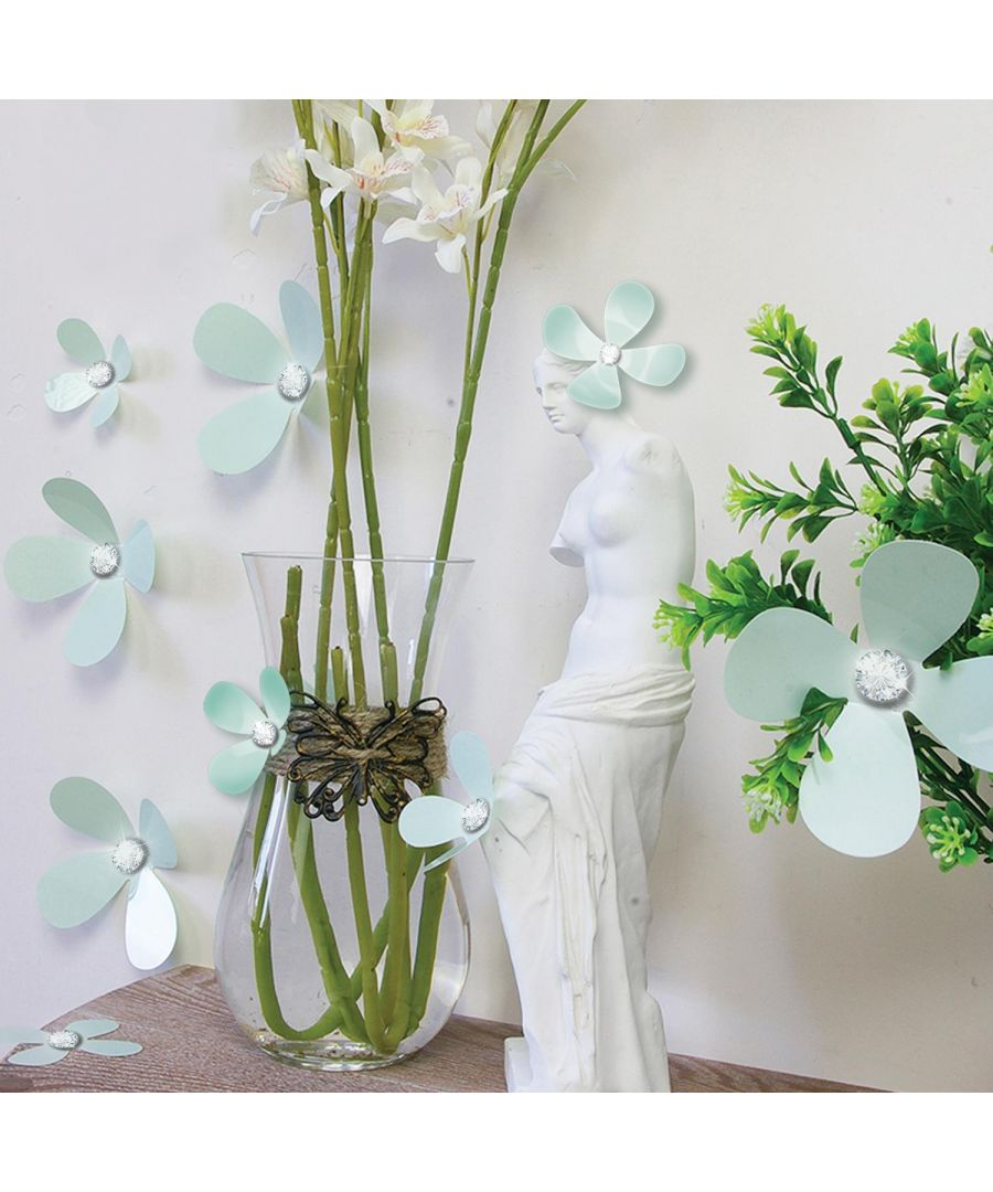 Image for Crystal 3D Flowers - Mint Self Adhesive DIY Wall Sticker, bedroom wall sticker