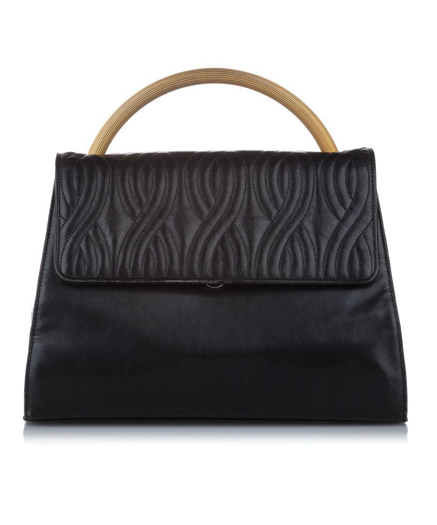 Image for Vintage Fendi Leather Satchel Black