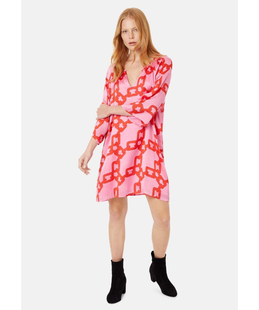 Image for Moments V-neck Shift Dress in Red and Pink Chain Print
