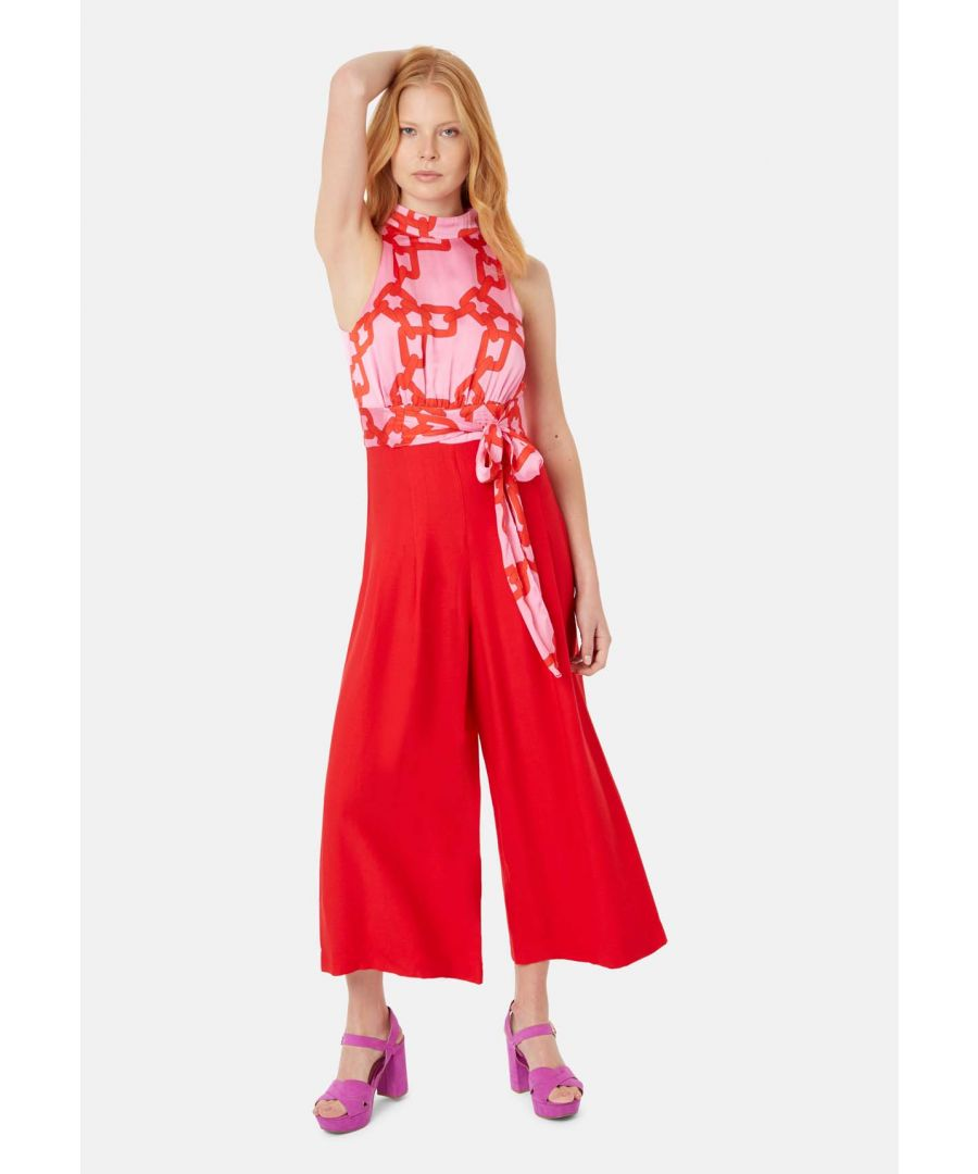 Image for Divided Halterneck Wide Leg Jumpsuit in Red and Pink
