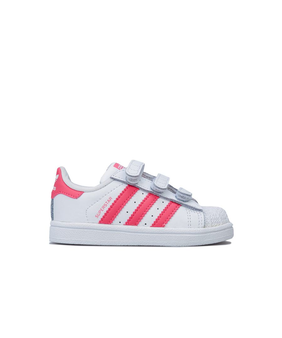 Image for Girl's adidas Originals Infant Superstar CF Trainers in White pink