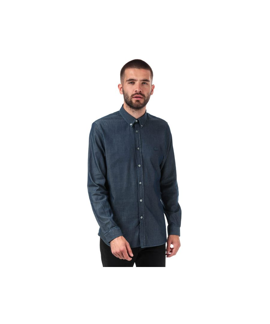 Image for Men's Lacoste Chambray Long Sleeve Shirt in Navy