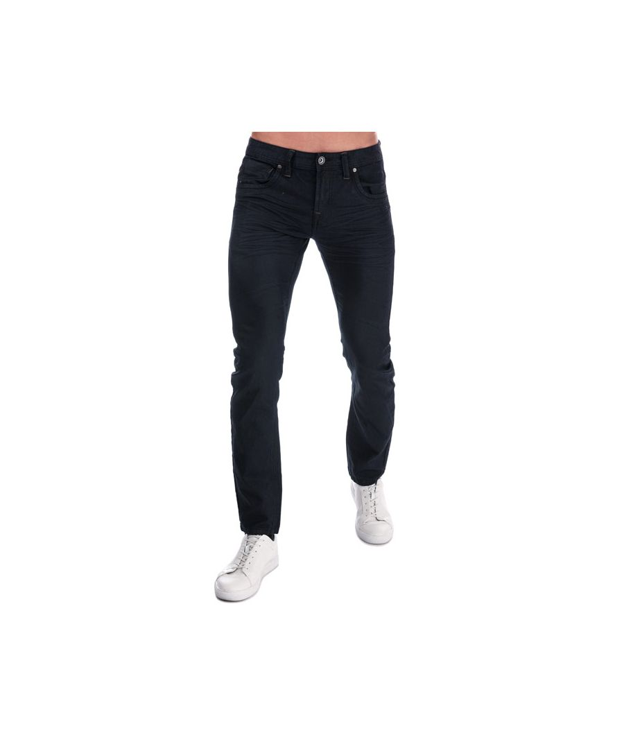 Image for Men's Crosshatch Black Label Menzo Stretch Slim Fit Jeans in Denim