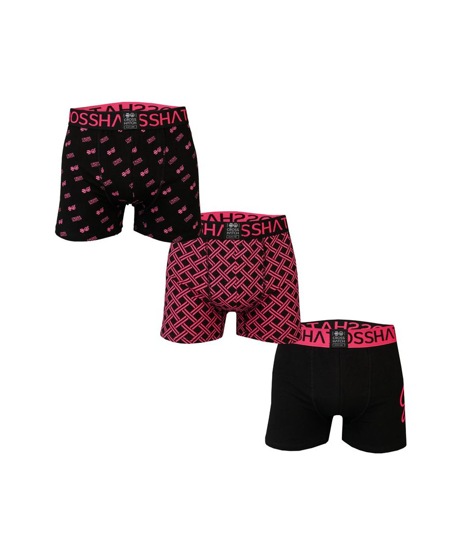 Image for Men's Crosshatch 3 Pack Neonbox Boxer Shorts in Black Red