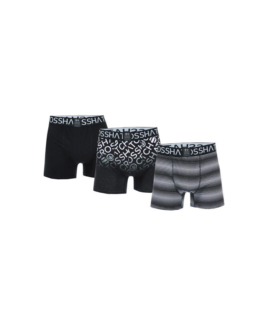 Image for Men's Crosshatch Black Label Formbee 3 Pack Boxer Shorts in Black