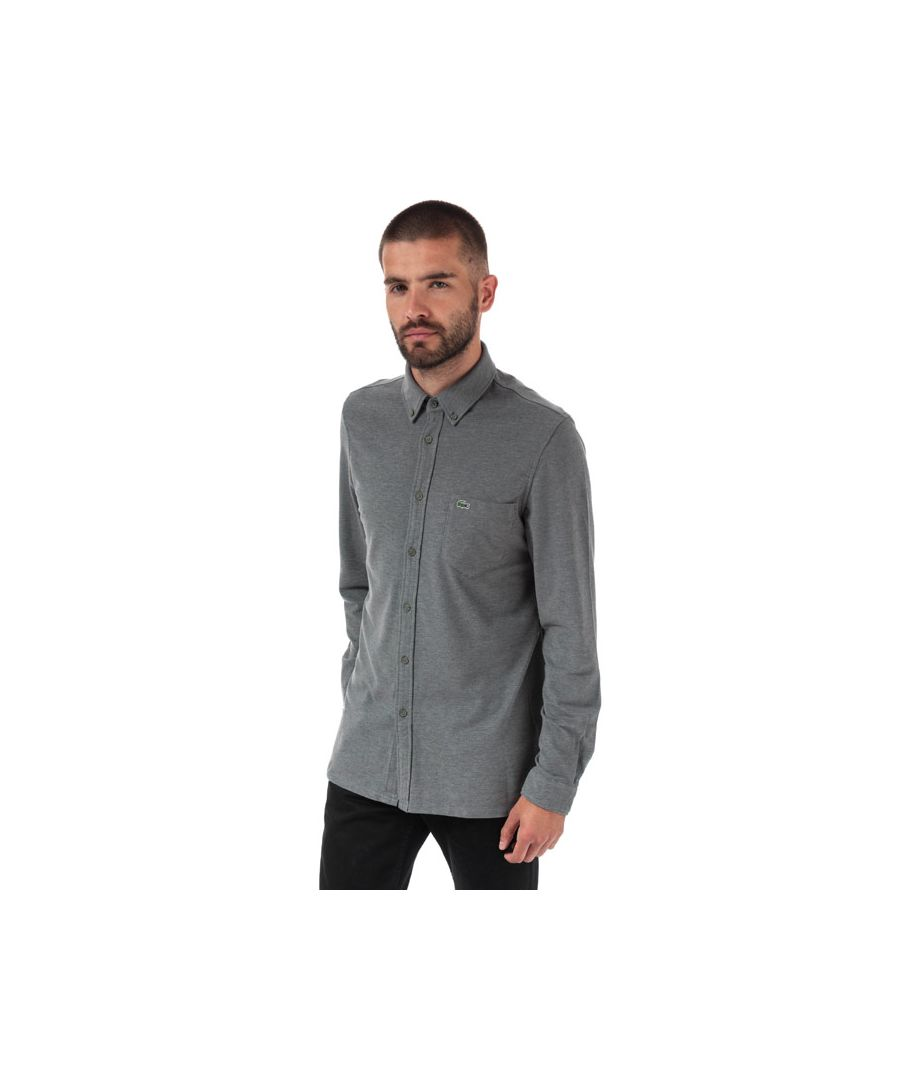 Image for Men's Lacoste Slim Fit Cotton Jersey Shirt in Charcoal