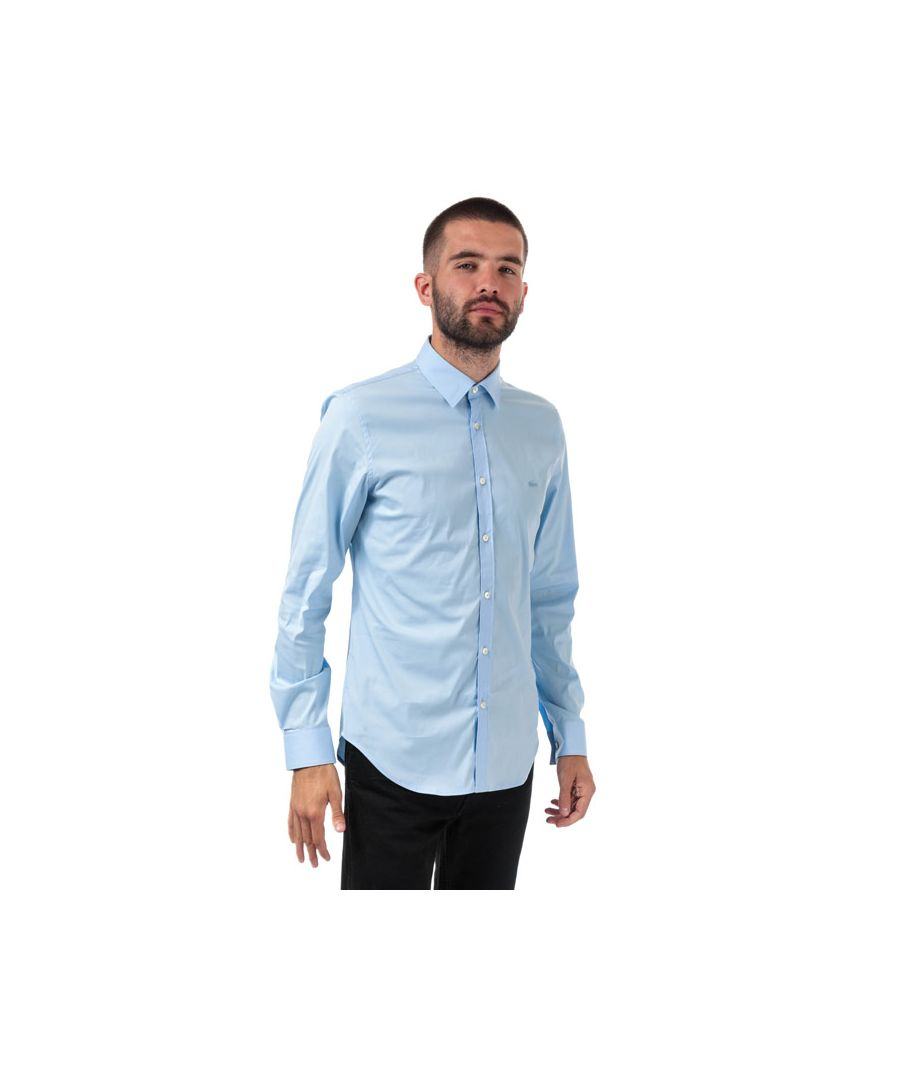 Image for Men's Lacoste Slim Fit Stretch Cotton Poplin Shirt in Blue