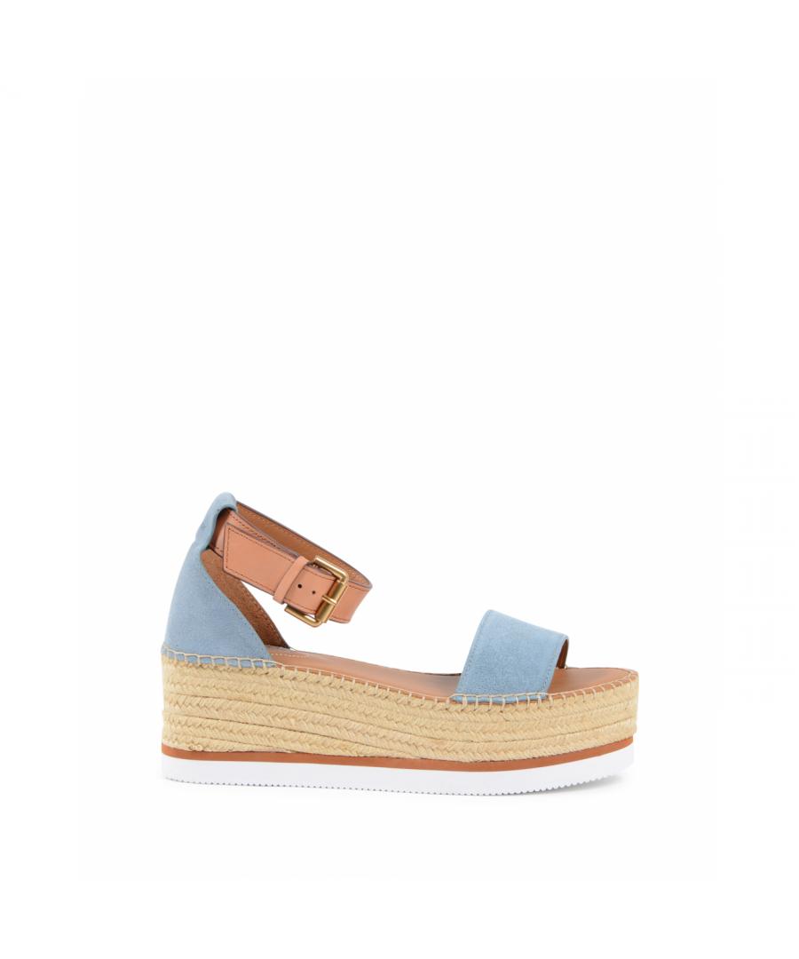 Image for Chloe Womens Platform Sandal Light Blue SB32201A NUVOLA SIERRA
