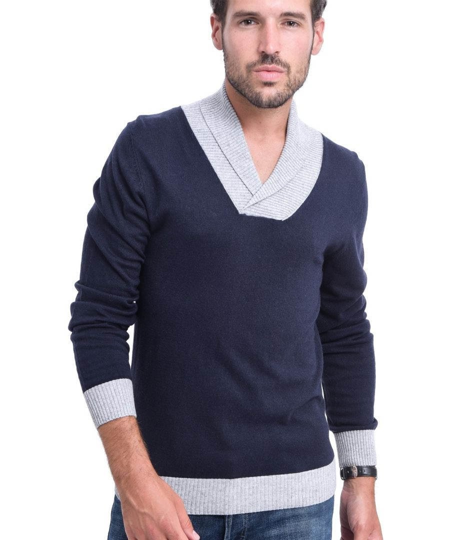 Image for C&JO Two-tone Shawl Collar Sweater in Navy